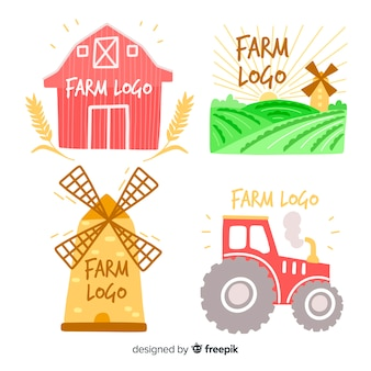 Colección de logos de granja en diseño plano
