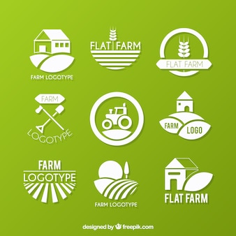 Colección de logos de granja ecológicos