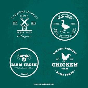 Colección de logos de granja verde y blanco