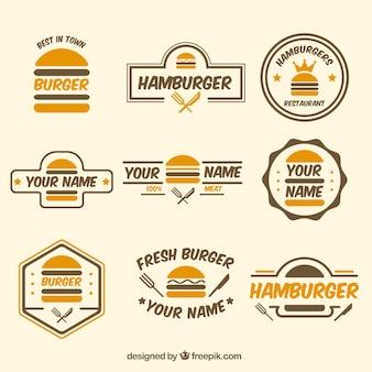 Colección de logos de hamburguesas
