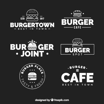 Colección de logos de hamburguesería en blanco y negro