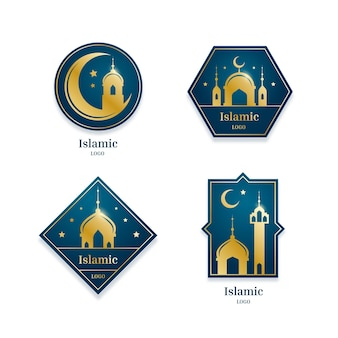 Colección de logos islámicos con elementos dorados