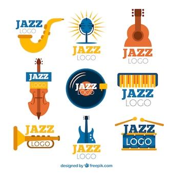 Colección de logos de jazz con diseño plano