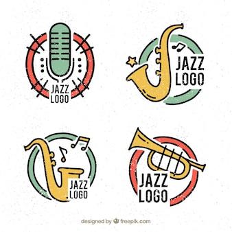 Colección de logos de jazz con estilo de dibujo a mano