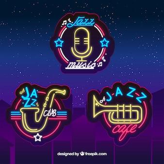 Colección de logos de jazz con estilo de luces de neón