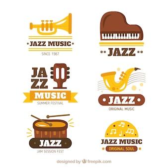 Colección de logos de jazz en estilo plano