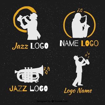 Colección de logos de jazz con estilo vintage