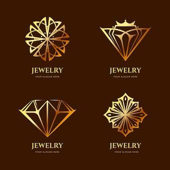 Colección de logos de joyas con degradado dorado