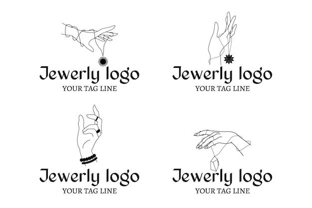 Colección de logos de joyas dibujados a mano