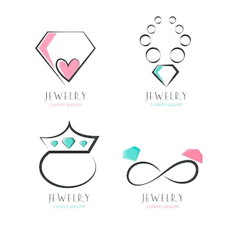 Colección de logos de joyas planas lineales