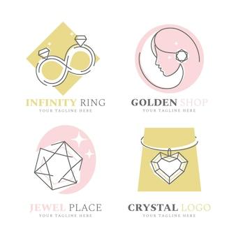Colección de logos de joyería de diseño plano lineal