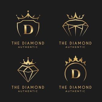 Colección de logos de joyería dorada degradada