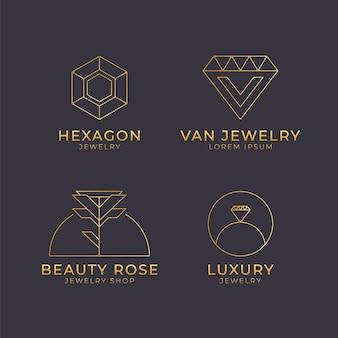 Colección de logos de joyería plana lineal