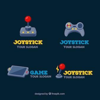 Colección de logos de joysticks con diseño plano