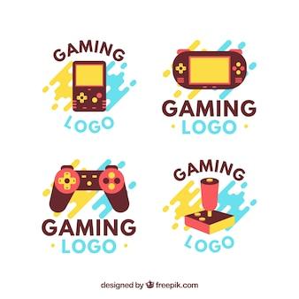 Colección de logos de juego en estilo plano