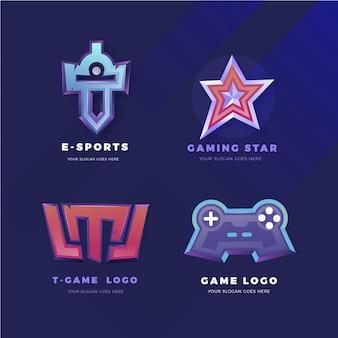 Colección de logos de juegos de deportes electrónicos degradados
