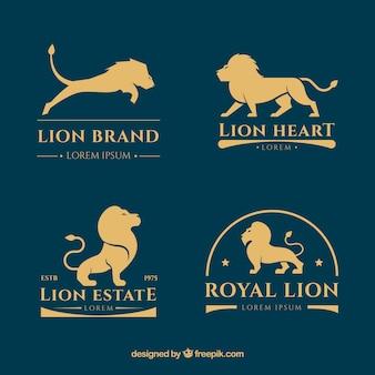 Colección de logos de león con estilo dorado