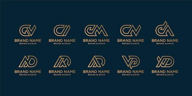 Colección de logos de letras doradas para empresa.