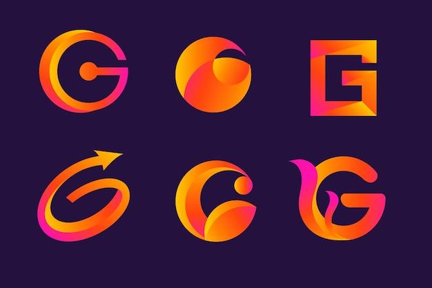 Colección de logos de letras g degradado