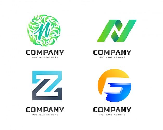 Colección de logos de letras, logotipo abstracto para empresa.