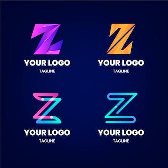 Colección de logos de letras z degradado