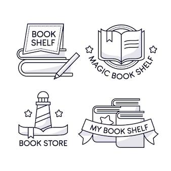Colección de logos de libros de diseño plano