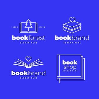 Colección de logos de libros planos