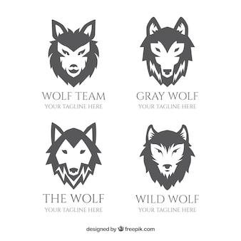 Colección de logos de lobo en escala de grises y diseño plano