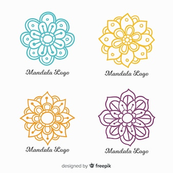 Colección de logos de mandala dibujados a mano