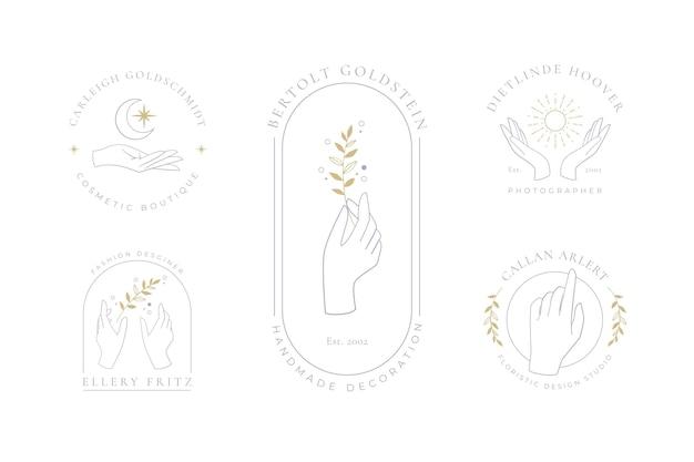 Colección de logos de manos minimalistas
