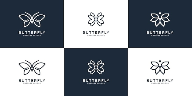 Colección de logos de mariposas de belleza con estilo de arte lineal