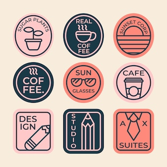 Colección de logos minimalistas de café colorido en estilo retro