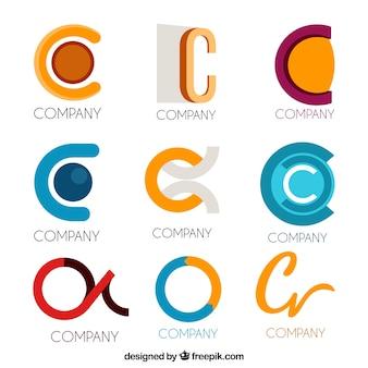 Colección de logos modernos de la letra c