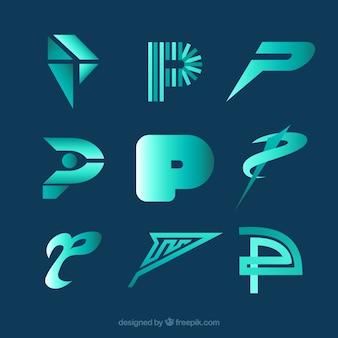 Colección de logos modernos de la letra p