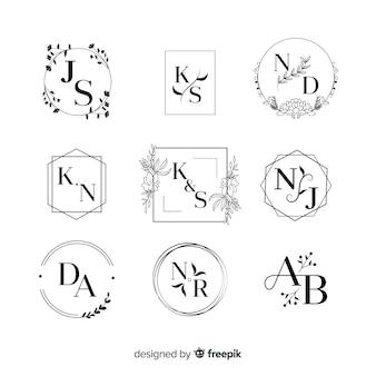 Colección de logos monograma de boda.