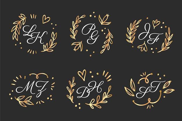 Colección de logos de monogramas de boda dibujados a mano