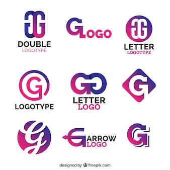 Colección de logos morados de la letra g