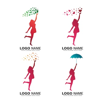 Colección de logos de mujeres que alcanzan la estrella, el amor, la hoja y la celebración de paraguas.
