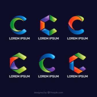 Colección de logos multicolor de la letra c