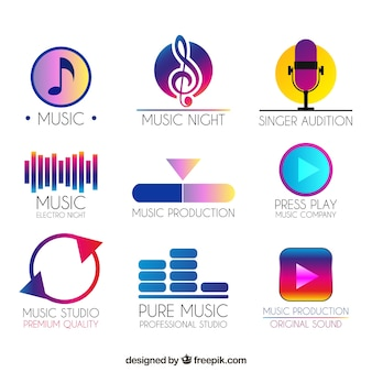 Colección de logos de música con estilo de degradado