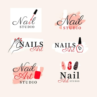 Colección de logos de nail art studio