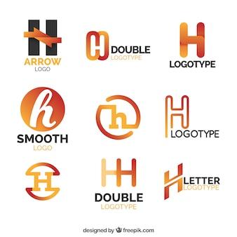 Colección de logos naranjas de la letra h