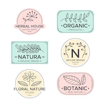 Colección de logos de negocios naturales estilo minimalista