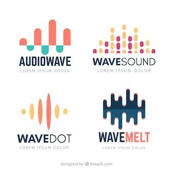 Colección de logos de onda de sonido con diseño plano