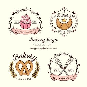 Colección de logos de panadería en estilo hecho a mano