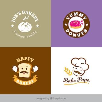 Colección de logos de panadería en estilo plano