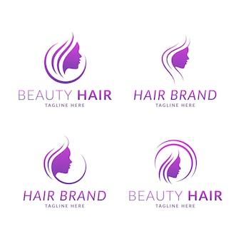Colección de logos de peluquería dibujados a mano vector gratuito