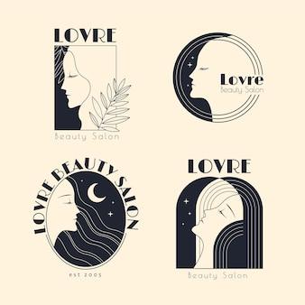 Colección de logos de peluquería dibujados a mano