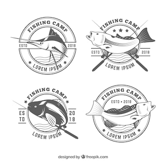 Colección de logos de pez en blanco y negro
