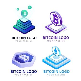 Colección de logos planos de bitcoin